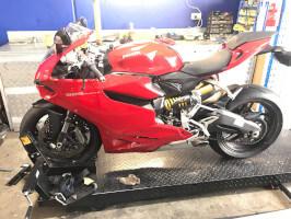 Ducati Panigale having a service